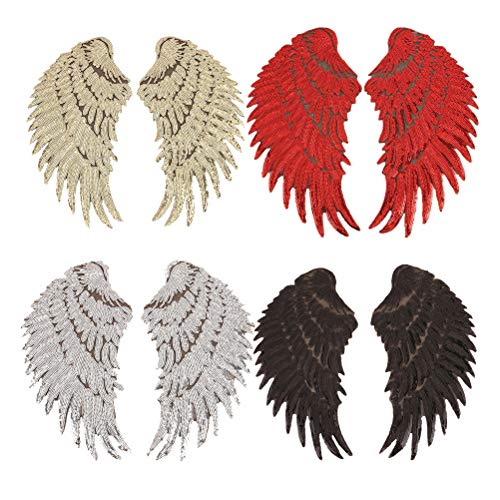 4 Pair Angel Wings Patch Iron On Patch Angel Wings Sequins Patch Iron on Angel Wings DIY Embroidered Applique Bling Wings for Jackets Cloth Decoration Valentine's Day Gifts