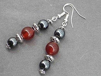 Boucles d'oreilles Venezia Thurcolas avec perles en hématite et agate rouge