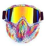 Xsya Motorradbrille mit Gesichtsmaske, abnehmbare Schutzbrille, beschlagfreier, winddichter Jethelm für Motocross, Skifahren und Outdoor-Sportarten,T03