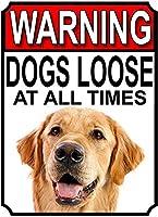 警告犬は常に緩んでいますブリキの看板の壁の装飾金属のポスターレトロなプラークの警告サインオフィスカフェクラブバーの工芸品