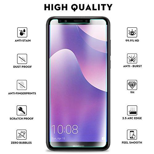 KuGi Huawei Y7 2018 Schutzfolie, 9H Panzerglas Hartglas Glas Display Schutzfolie [Blasenfrei] [HD Ultra] [Anti-Kratzer] Displayschutz Für Huawei Y7 2018 / Prime 2018 Smartphone. Klar [2 Pack] - 3