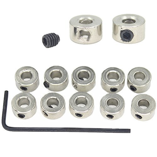 Hobbypark 15pcs 1/8' Plated Landing Gear Stopper Set Wheel Collar 8x3.1mm / 0.31'x 0.12' RC Airplane Replacement