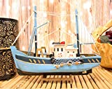 Ebros 12' Long Blue Wooden Handicraft Nautical Ocean Marine Trawler Fishing Vessel Boat Model Statue with Wood Base Stand Fully Assembled Figurine Sea Ship Prototype Museum Gallery Sculpture