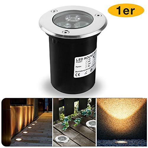 Wilktop 3W Led Bodeneinbaustrahler, Runde Außenleuchte IP67 LED Boden Einbau-Strahler Gartenleuchten Lamp Für Aussen (Warmweiß)