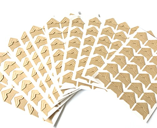 VEEPPO 240pcs Photo Mounting Corners Self Adhesive Paper for Photo Book Scrapbook (Kraft Color)