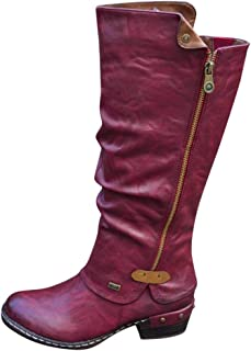 Women's Fashion Western Style Faux Fur-Lined Knee High Winter Boots Cowboy Riding Boots