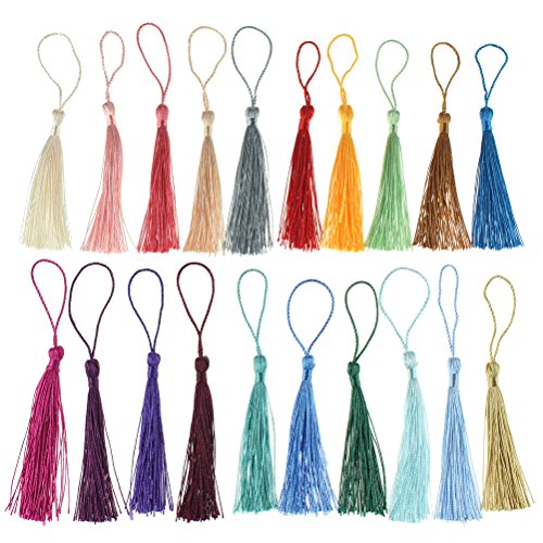 3.5cm Navy KONMAY 50PCS 1.4 Soft Handmade Silky Tiny Craft Tassels With Golden Jump Ring for DIY Projects