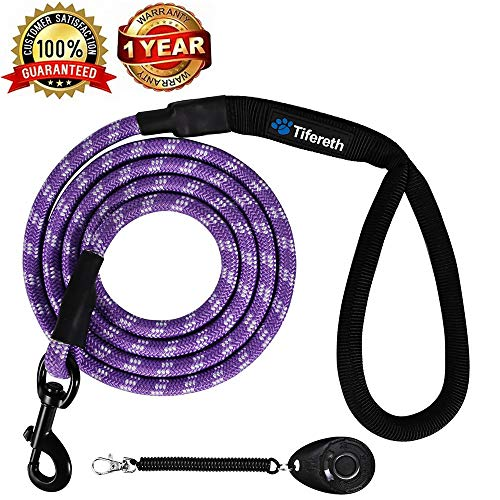 Rope Medium-Large 6ft-4ft Dog-Leash - Strong Big Heavy Duty Climbing Rope Leash with Soft Padded Handle for Medium to Large Dogs