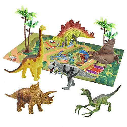 Mypace2 Groß Spielmatte rutschfest Kinderteppich Dinosaurierspielset mit Aufbewahrungsbox enthält 1 Spielmatte, 9 Dinosaurier, 2 Bäume und realistisches Lernspielzeug für Dinosaurier