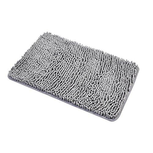 Diossad Badteppich Grau Polyesterfaser Weiche Shaggy Saugfähige Wasser Anti Beleg Haushalt Badezimmer Teppich 60 × 40 cm