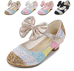 Golden/7c Heels Mary Jane Princess Flower Girl Shoes
