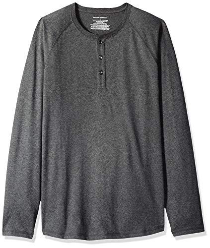 Amazon Essentials - Camisa Henley de manga larga para hombre, ajuste regular, Carbón Mezcla, XXL