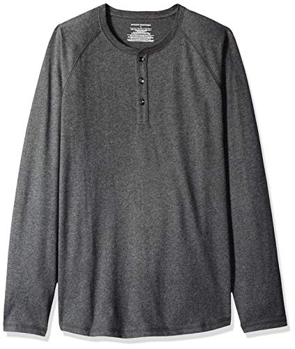 Amazon Essentials - Camiseta de manga larga con corte recto y cuello panadero para hombre, Gris (Charcoal Heather), X-Large (Talla fabricante: X-Large)