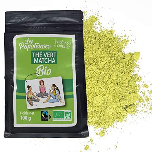 Les Papoteuses | Thé vert Matcha bio en poudre 100 g | certifié biologique et commerce équitable | Thé japonais cultivé en Chine | idée cadeaux pour les femmes et les hommes