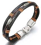 HALUKAKAH  Rétro  Homme Bracelet en Cuir Véritable de Main Style Vintage 8.66'(22cm) avec Le Boîte-Cadeau Gratuit