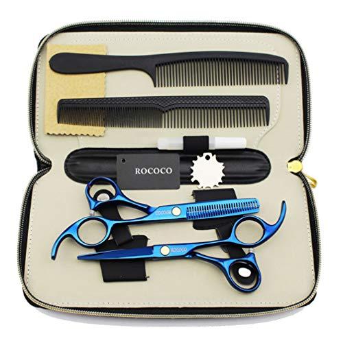 TAOUN Juego de tijeras de peluquería profesional, tijeras de pelo y tijeras de adelgazamiento de 15,6 cm, tijeras de acero inoxidable de alto grado para salón, peluquería o hogar, color azul