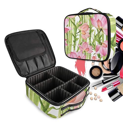 Bambou Rose Lotus Vert Trousse Sac Cosmétique Organisateur de Maquillage Pochette Sacs Cas avec Cloisons Amovibles pour Voyage Les Femmes Filles
