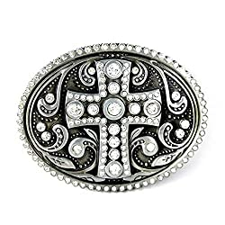 Religious Keltic Cross Belt Buckle Rhinestone
