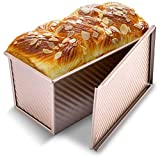 KITESSENSU Pullman Loaf Pan with Lid, 1 lb Dough Capacity Non-Stick Bakeware for Baking Bread, Carbon Steel Corrugated Bread Toast Box Mold with Cover for Baking Bread, Gold(8.27X4.80X4.53 Inch)