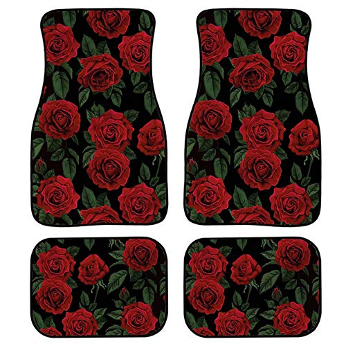 Snilety Set of 4 Red Rose Pattern Women Car Floor Mats Custom Fit All-Weather Covered Car Mat Carpet Floor Auto Mats