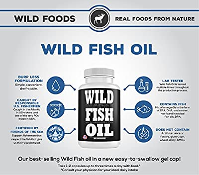 Wild Fish Oil Triple-Strength Omega 3 with Triglyceride DPA DHA & EPA   Burpless, Non-GMO, Gluten-Free & Purity-Tested - Nature's Heart, Brain & Joint Support (120 Softgels))