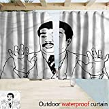 Jktown Humor Windproof Outdoor Curtain with Pergola Balcony Holiday Decor 84'x108' Vintage Man Meme Guy