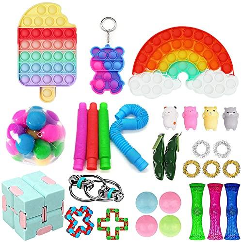 Fidget Toy Packs, 30Pcs Fidget Toys Set, Sensory Toys with Bubble Dimple, Birthday Party Fidget Toy Pack for Kids Adults (30PCS)