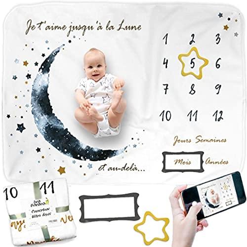 Couverture Etape Bébé FRANÇAIS, Couverture Photo Mensuelle, Tapis Mois Bébé, Cadeau Naissance Garçon, Cadeau Personnalisé, Couverture Bébé Baby shower Garçon, Idée Cadeau Bébé