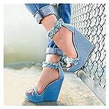 Sandalias Damas Sandalias de boda Sandalias de verano Plateau Espadrille Mujeres Sandalias Wedge Sandalias Summer Open Zapatos FlatForm Slings Blings Blips Zapatos de ocio ( Color : Blue , Size : 36 )