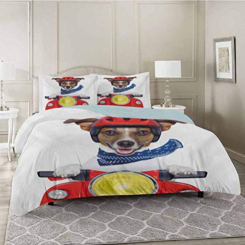 YUAZHOQI 3 Pieces Bedding Duvet Cover Set, Puppy with Helmet Riding Motorbike Humor Jack Russell Courier Italy Pet Graphic, Soft Microfiber Bedding,Wrinkle, Fade, Stain Resistant, Queen Size