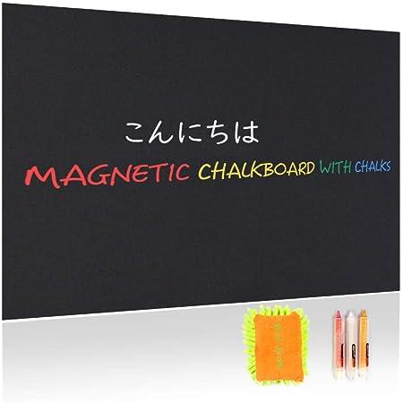 Takarafune マグネットボード 黒板 ブラックボード 掲示板 ボード 自由にカット 高品質 ホワイトボードシート 磁石 貼ってはがせる 60*200cm 厚さ約0.6mm イレーザ、チョークパステル 3枚付き