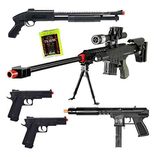 Mixed Lot of 5 Airsoft Guns Sniper Rifle Shotgun Spring Pistols & 1,000 6mm BBs Toy Guns Guaranteed Quality