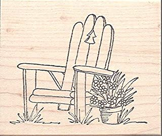 Adirondack Chair Red Rubber Stamp Wood Mounted by Pink Ink 2084G