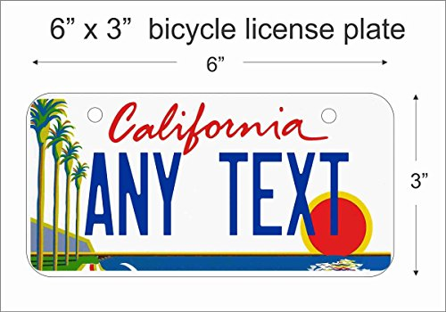 ATD California State Replica License Plate for Bicycle 6' x 3' Personalized with Your Text Custom Vanity Novelty Decorative Aluminum Sign