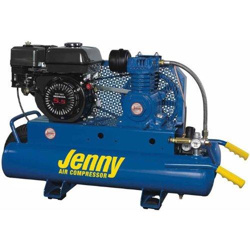 Jenny K5HGA-8P Single Stage Wheeled Portable Gasoline Engine Air Compressor with K Pump, 8 Gallon Tank, 5.5 HP