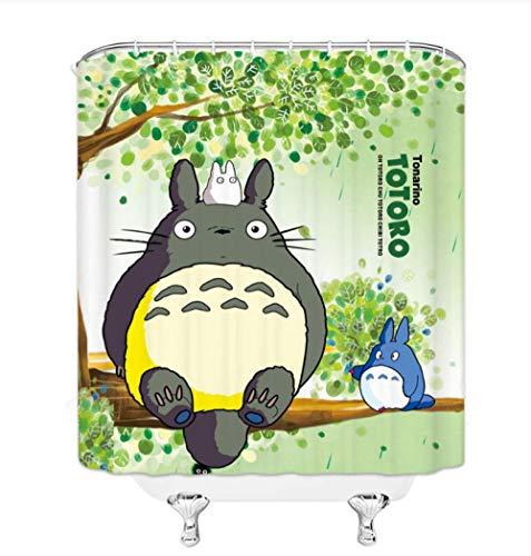 AdoDecor Duschvorhang Mein Nachbar Totoro Duschvorhang Cartoon Niedlicher Totoro sitzt auf grünen Bäumen Badezimmervorhang 160x180cm