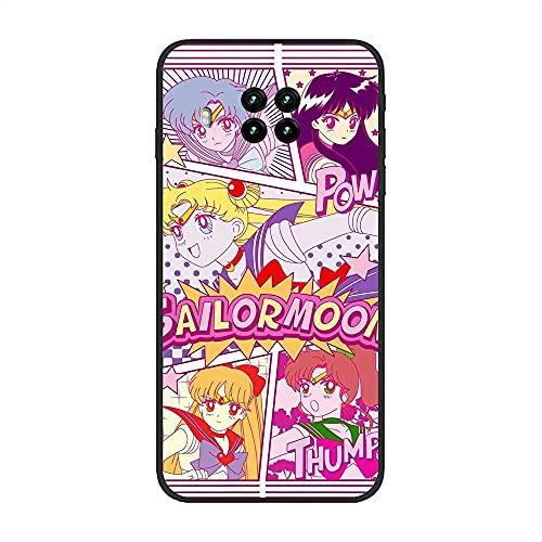 Case for XIAOMI Redmi Note 9 Pro 5G/Mi 10T Lite, Sailor-Moon Pretty Soldier-Girl 6 Soft Black TPU Rubber Liquid Shell Coque