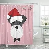 LINMING Cortina de ducha con diseño de animales grises Schnauzer Barba Canine Dibujos Animados lindos Perros Impermeable Tejido de Poliéster Cortina de Ducha Set con Ganchos 180x180cm