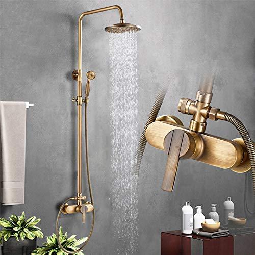 Rozin Messing Duschsystem mit Regendusche Duschkopf und Handbrause Einzelgriff Antik Messing Fertig an der Wand montiert Duschset
