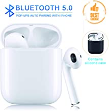 Wireless Earbuds Bluetooth 5.0 Sports Waterproof 3D Stereo Headphones Pop-ups Auto Pairing Built-in Binaural MicHeadset Noise Canceling【 24Hr Playtime】for iPhone Apple Airpods Android