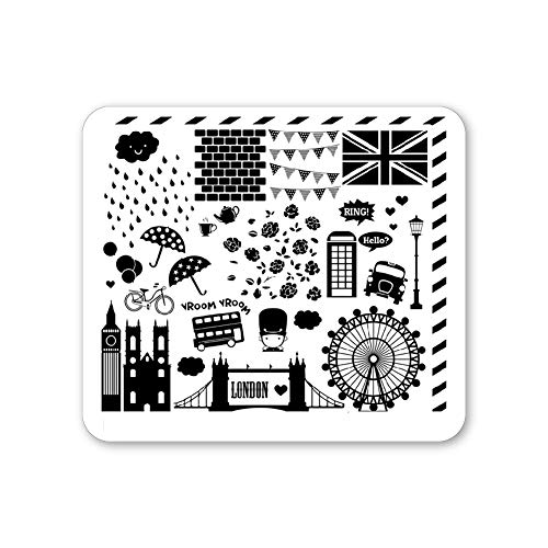 Winstonia Nail Art Stamping Plate Image Stencil Manicure British Design (London Stroll)