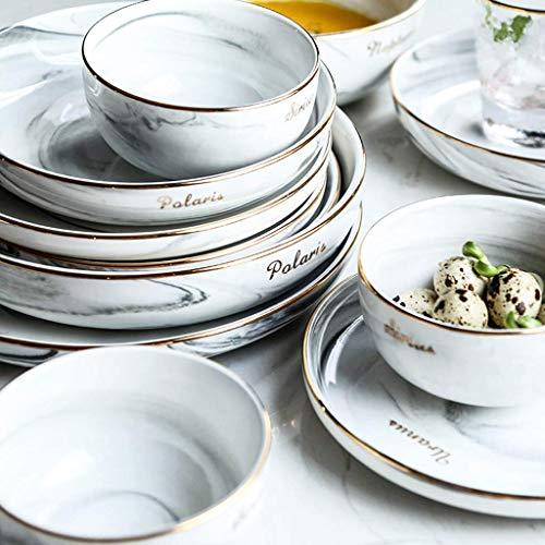 GAXQFEI Cerámica Vajillas, 30 Piezas Luz de Lujo de Phnom Penh Porcelana Combinación Set - Bol/Plato/Cuchara | Nordic Style Hotel Vajilla para Restaurante