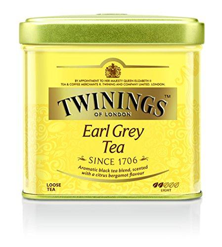 Twinings Earl Grey Tee lose in der Tee-Dose - Schwarzer Tee mit feinstem Bergamotte Aroma - erfrischender Schwarztee aus China, 2er Pack (2 x 100 g)