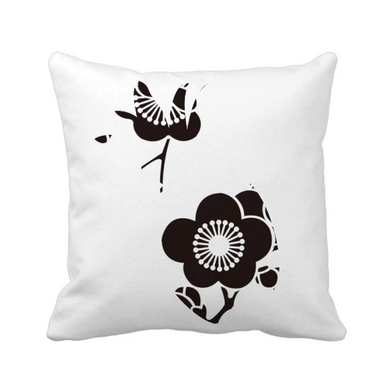 能力運ぶナビゲーション日本文化のかわいい黒桜 パイナップル枕カバー正方形を投げる 50cm x 50cm
