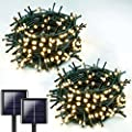 Extra-Long 2-Pack Each 72ft 200 LED Solar String Lights Outdoor (Upgraded Ultra-Bright), Waterproof Green Wire Solar Lights Outdoor Decorative, 8 Lighting Modes Solar Xmas Tree Lights (Warm White)