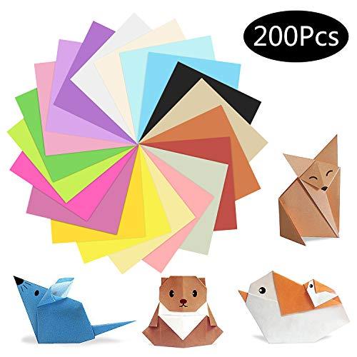 200 Hojas Papel Origami, ZWOOS 20 Colores Cartulina de Colores Papel Papiroflexia Origami para Niños, Manualidades de Origami con Papel para Proyectos de Arte y Manualidades, 15cm* 15cm