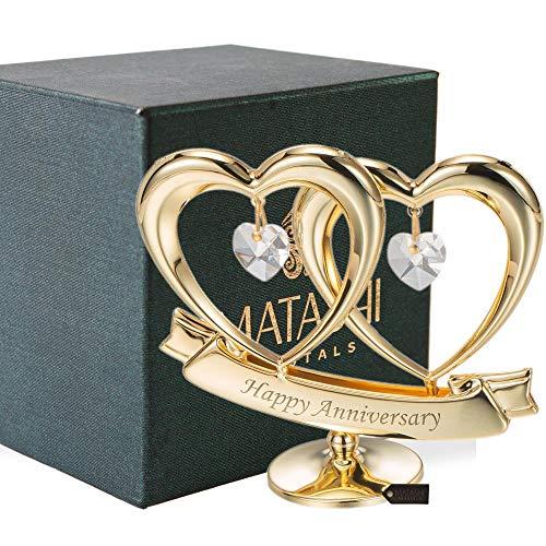 Matashi 24K Gold Plated Happy Anniversary Double Heart Figurine Ornament with Genuine...