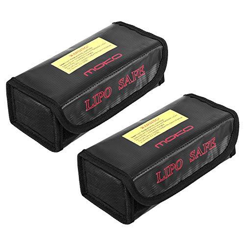 MoKo Lipo Akku Tasche, 2 Stück Lipo Batterie Tasche Feuerfest Explosionsgeschützte Batterie Safe Bag für Charge, Klettverschluss Feuerbeständige Sicherheit Schutztasche Ladegerät Sack – Schwarz