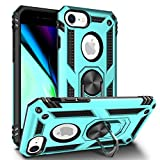 Newseego Compatible with iPhone SE 2020, iPhone7/8 Case, Armor Dual Layer 2 in 1 and 360 Degree Rotating Metal Ring Holder Kickstand & Shock & Scratch Support Shockproof Hard Cover –Cyan