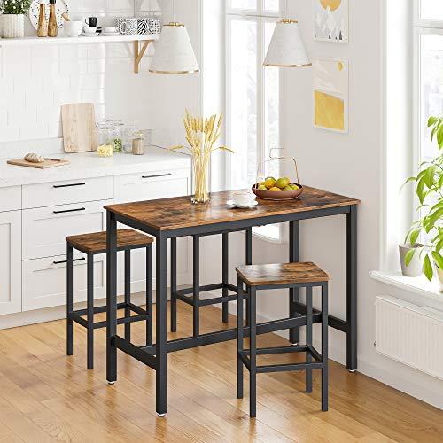 VASAGLE Bartisch-Set, Stehtisch mit 2 Barhockern, Küchentresen mit Barstühlen, Küchentisch und Küchenstühle im Industrie-Design, für Küche, 120 x 60 x 90 cm, vintagebraun-schwarz LBT15X - 2